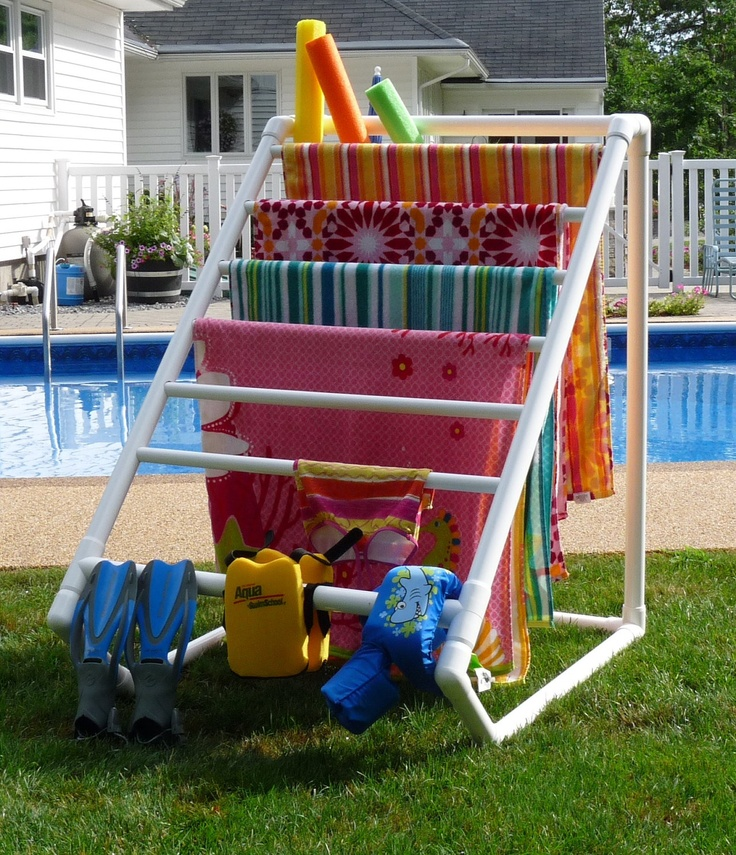 Pool Towel Rack Ideas towel noodle holder Diy Towel Rack Using Pvc Pipes