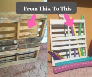 DIY Pallet Board Pool Toy Storage